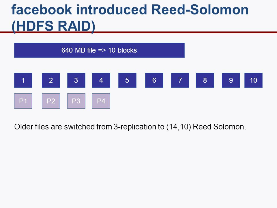 12345678910 P1P2P3P4 facebook introduced Reed-Solomon (HDFS RAID) 640 MB file => 10 blocks Older files are switched from 3-replication to (14,10) Reed