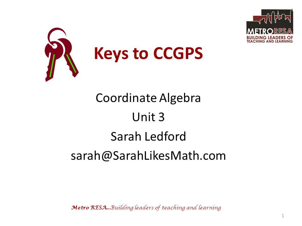 Metro RESA...Building leaders of teaching and learning Keys to CCGPS Coordinate Algebra Unit 3 Sarah Ledford sarah@SarahLikesMath.com 1