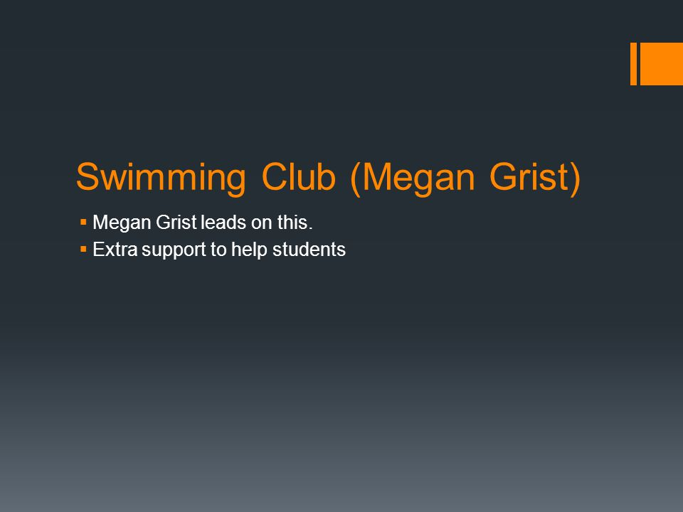 Swimming Club (Megan Grist)  Megan Grist leads on this.  Extra support to help students