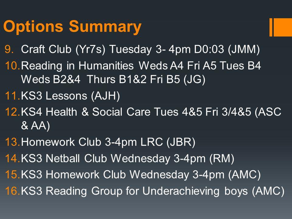 Options Summary 9.Craft Club (Yr7s) Tuesday 3- 4pm D0:03 (JMM) 10.Reading in Humanities Weds A4 Fri A5 Tues B4 Weds B2&4 Thurs B1&2 Fri B5 (JG) 11.KS3 Lessons (AJH) 12.KS4 Health & Social Care Tues 4&5 Fri 3/4&5 (ASC & AA) 13.Homework Club 3-4pm LRC (JBR) 14.KS3 Netball Club Wednesday 3-4pm (RM) 15.KS3 Homework Club Wednesday 3-4pm (AMC) 16.KS3 Reading Group for Underachieving boys (AMC)
