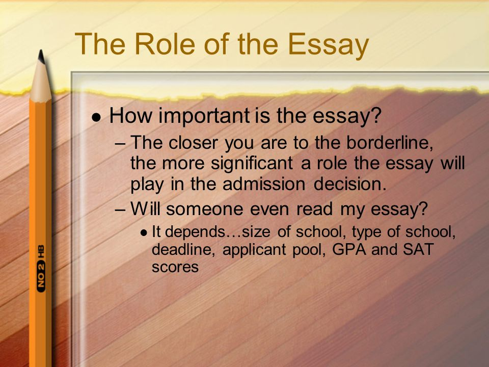 The Role of the Essay How important is the essay.