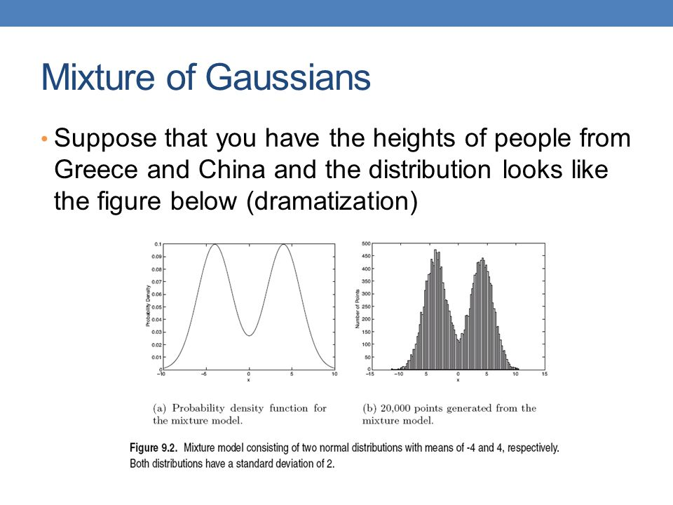 Mixture of Gaussians Suppose that you have the heights of people from Greece and China and the distribution looks like the figure below (dramatization)
