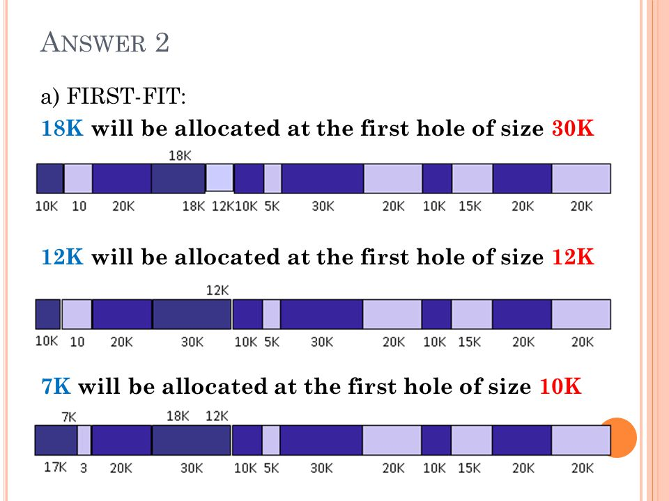 A NSWER 2 a) FIRST-FIT: 18K will be allocated at the first hole of size 30K 12K will be allocated at the first hole of size 12K 7K will be allocated a