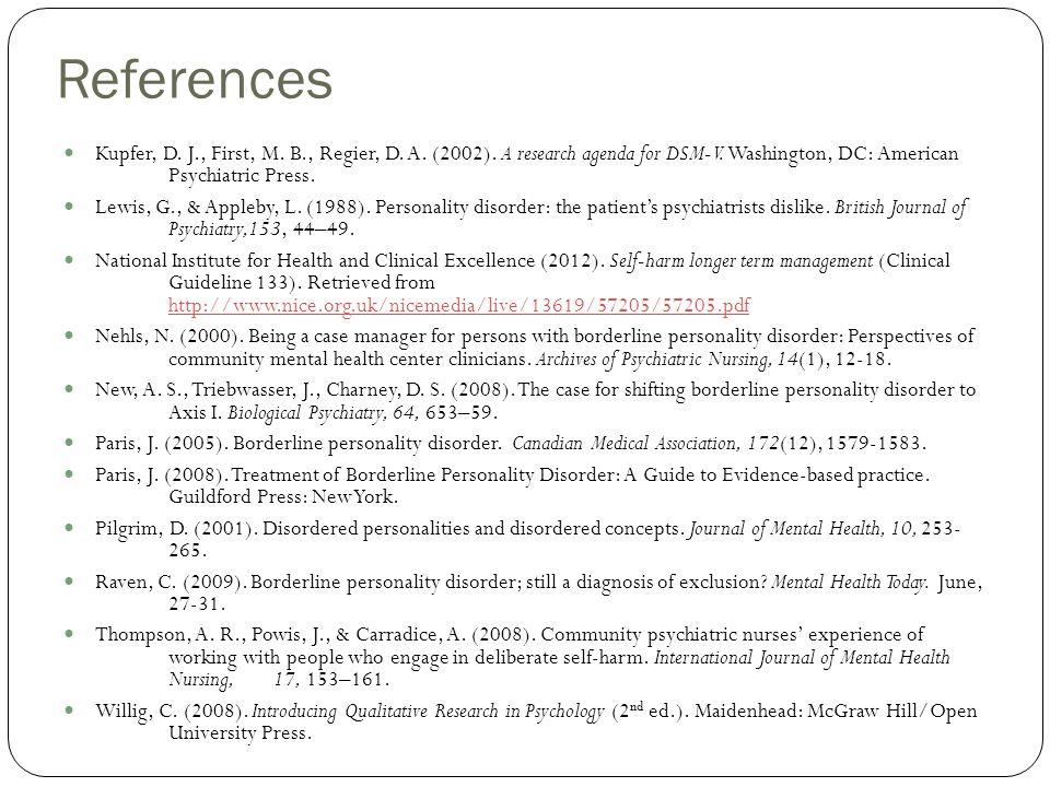 References Kupfer, D. J., First, M. B., Regier, D.