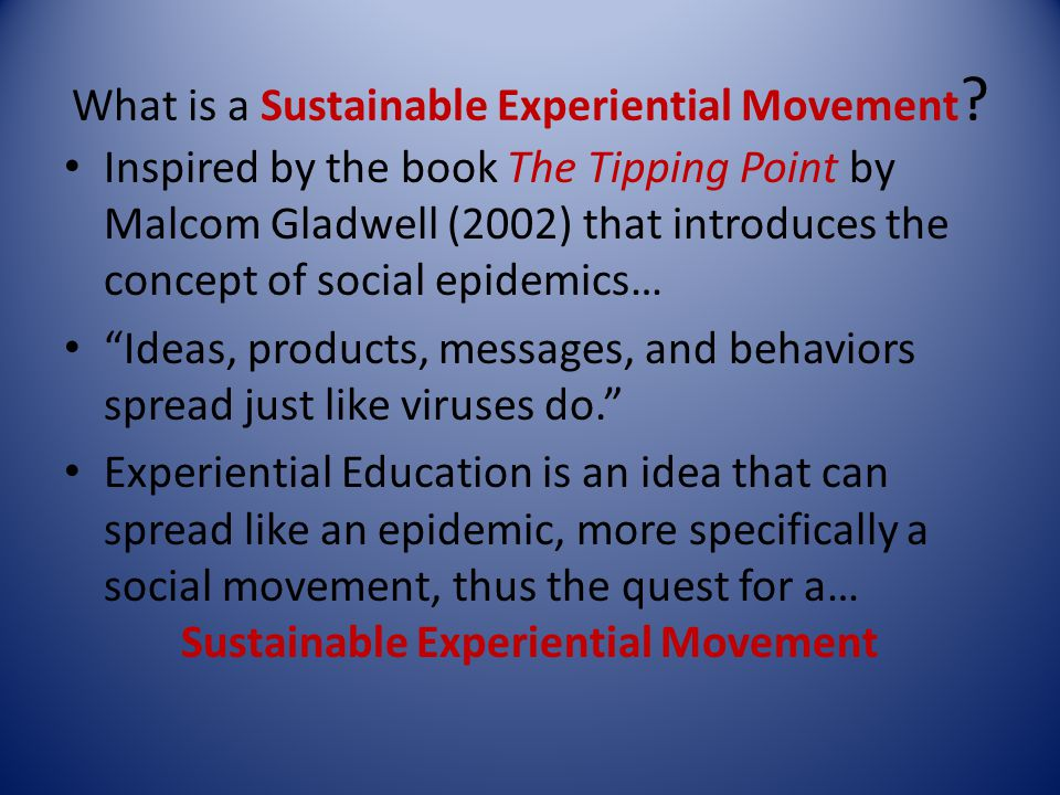 What is a Sustainable Experiential Movement .