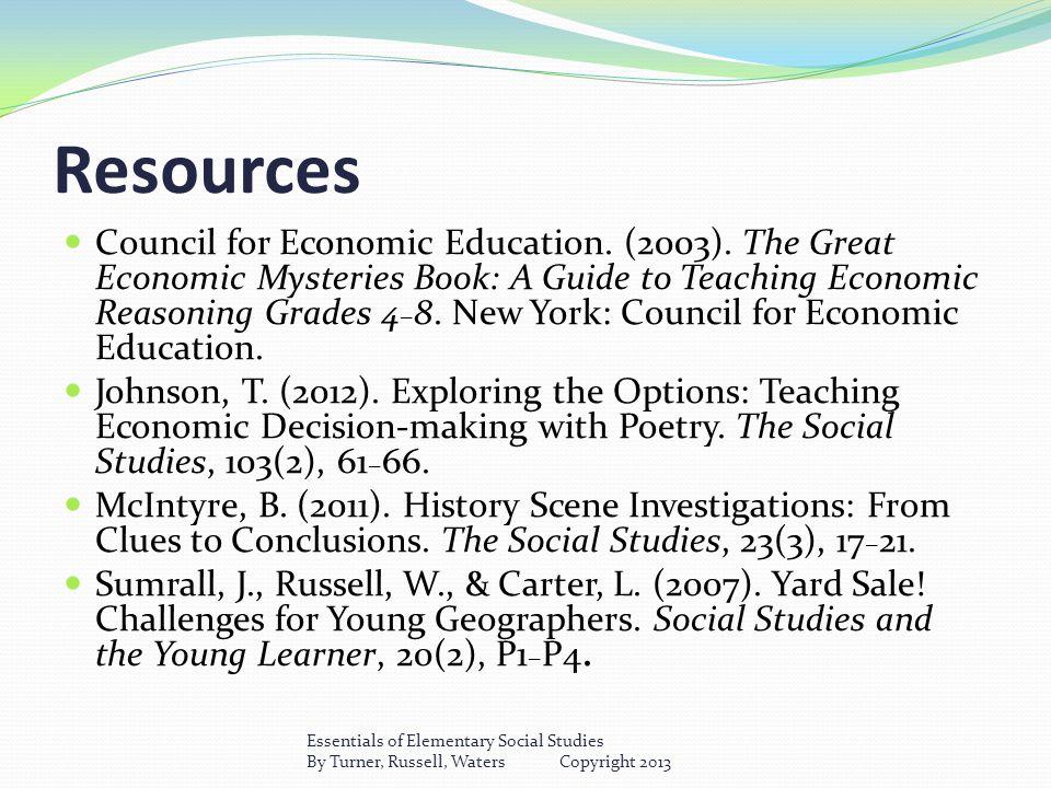 Resources Council for Economic Education. (2003).