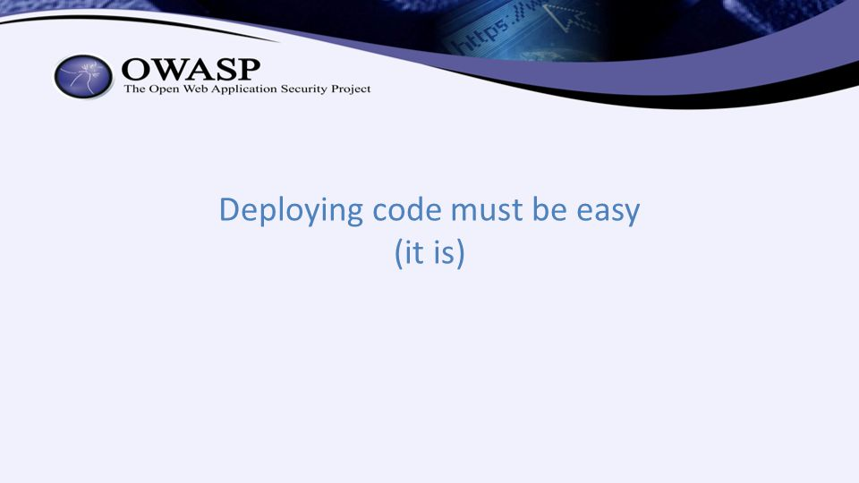 Deploying code must be easy (it is)