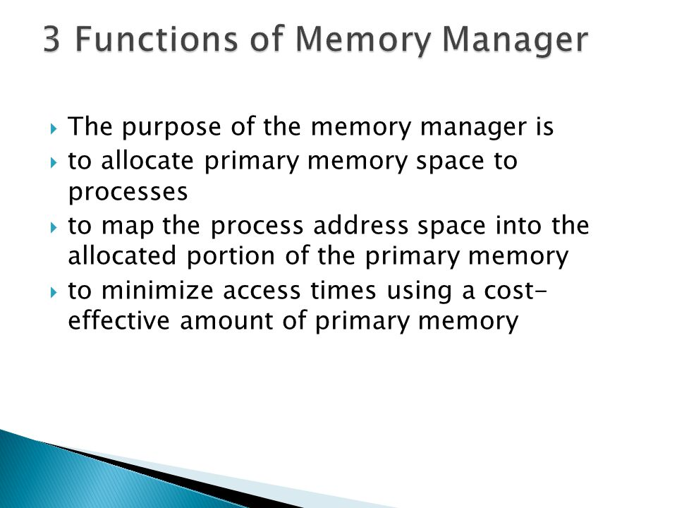  Static relocation: A process may be loaded into memory, each time possibly having a different starting address  Necessary for variable partitioning  Dynamic relocation: In addition to static relocation, the starting address of the process may change while it is already loaded in memory  Necessary for compaction 34