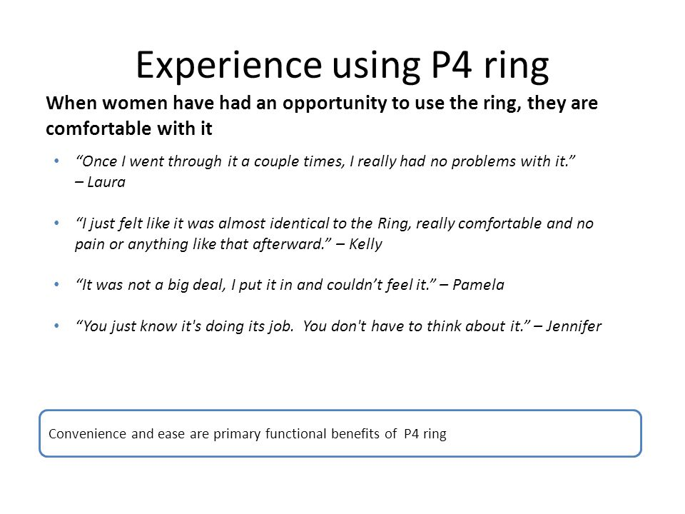 Experience using P4 ring When women have had an opportunity to use the ring, they are comfortable with it Convenience and ease are primary functional