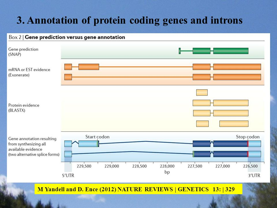 M Yandell and D. Ence (2012) NATURE REVIEWS | GENETICS 13: | 329