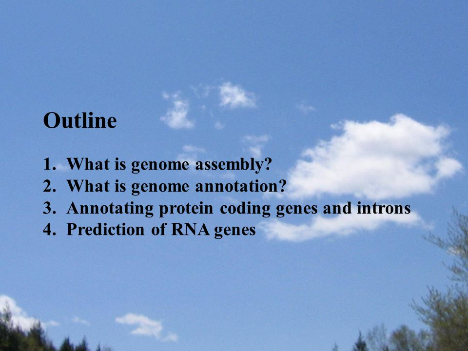 Outline 1.What is genome assembly? 2.What is genome annotation? 3.Annotating protein coding genes and introns 4.Prediction of RNA genes