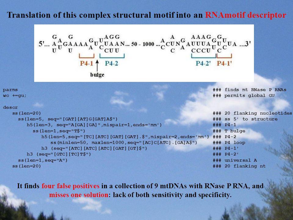 Translation of this complex structural motif into an RNAmotif descriptor parms ### finds mt RNase P RNAs wc +=gu; ### permits global GU descr ss(len=2