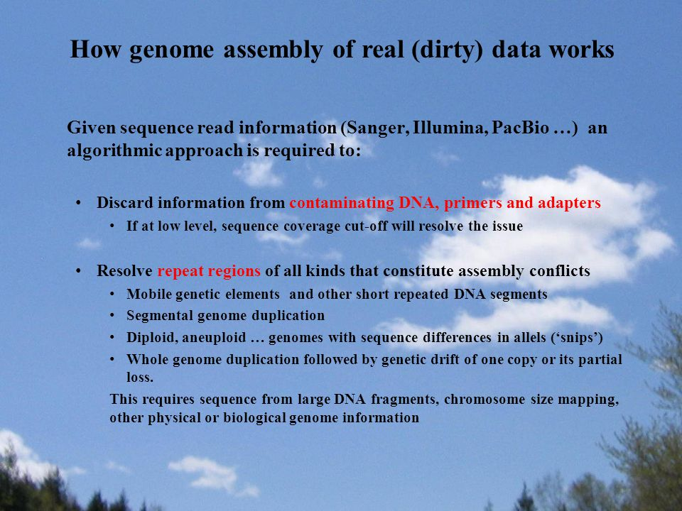 Given sequence read information (Sanger, Illumina, PacBio …) an algorithmic approach is required to: Discard information from contaminating DNA, prime