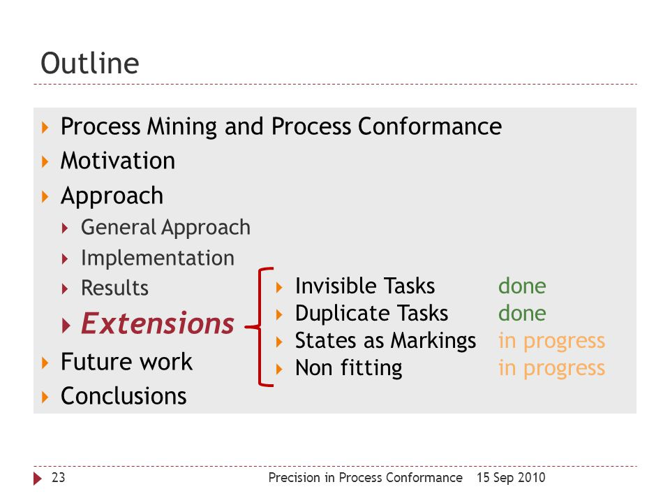 Outline 15 Sep 2010Precision in Process Conformance23  Process Mining and Process Conformance  Motivation  Approach  General Approach  Implementa