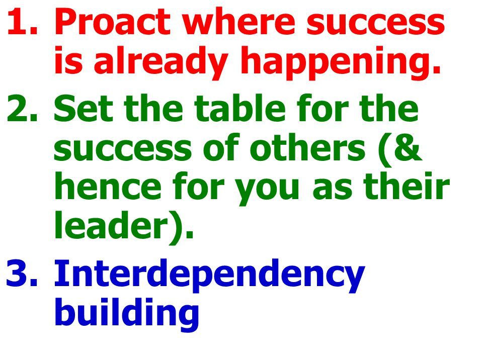 1.Proact where success is already happening.