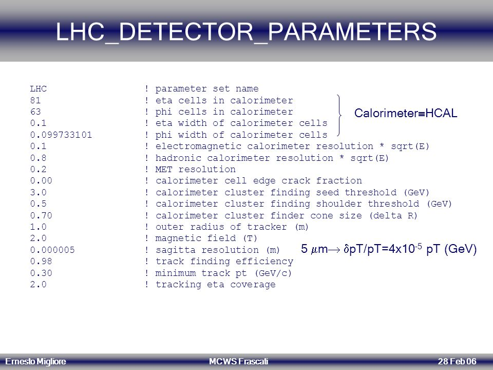 Ernesto Migliore MCWS Frascati 28 Feb 06 LHC_DETECTOR_PARAMETERS LHC ! parameter set name 81 ! eta cells in calorimeter 63 ! phi cells in calorimeter