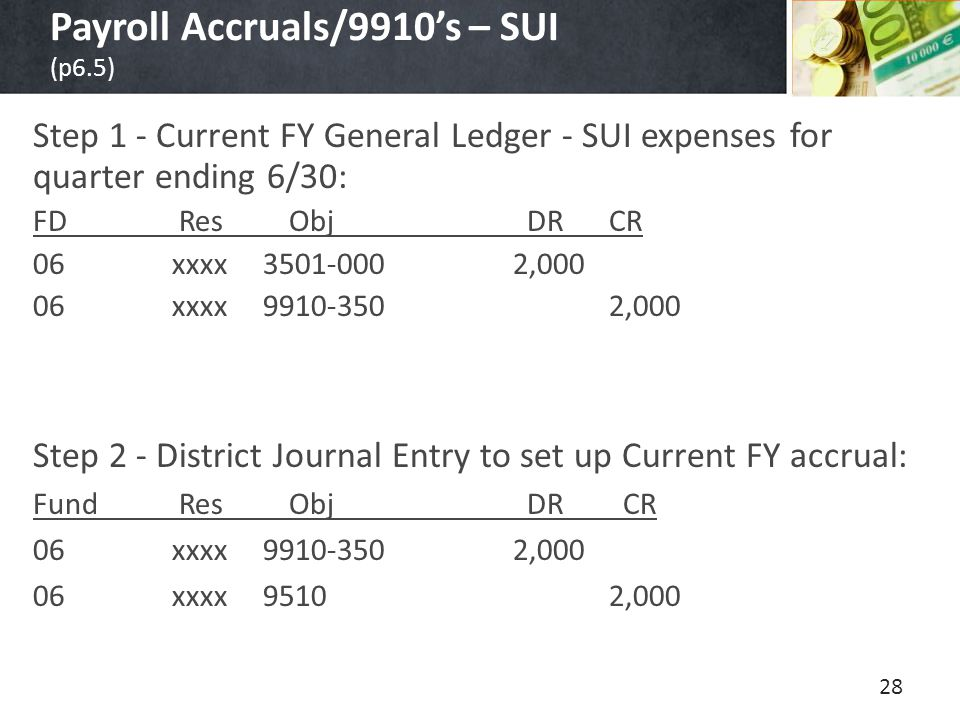 Payroll Accruals/9910's – SUI (p6.5) Step 1 - Current FY General Ledger - SUI expenses for quarter ending 6/30: FD Res Obj DRCR 06 xxxx 3501-0002,000 06 xxxx 9910-3502,000 Step 2 - District Journal Entry to set up Current FY accrual: Fund Res Obj DR CR 06 xxxx 9910-3502,000 06 xxxx 9510 2,000 28