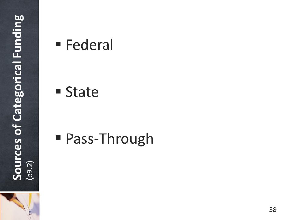 Sources of Categorical Funding (p9.2)  Federal  State  Pass-Through 38