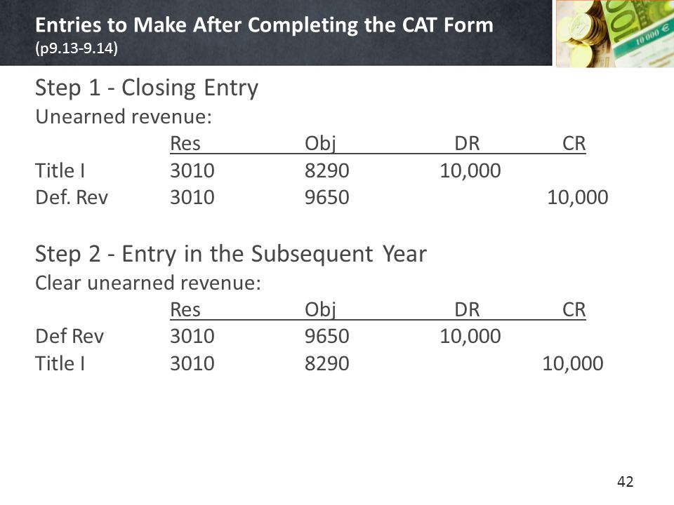 Entries to Make After Completing the CAT Form (p9.13-9.14) Step 1 - Closing Entry Unearned revenue: ResObj DR CR Title I3010829010,000 Def.