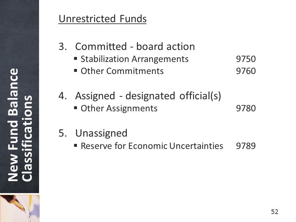 New Fund Balance Classifications Unrestricted Funds 3.Committed - board action  Stabilization Arrangements9750  Other Commitments9760 4.Assigned - designated official(s)  Other Assignments9780 5.Unassigned  Reserve for Economic Uncertainties9789 52