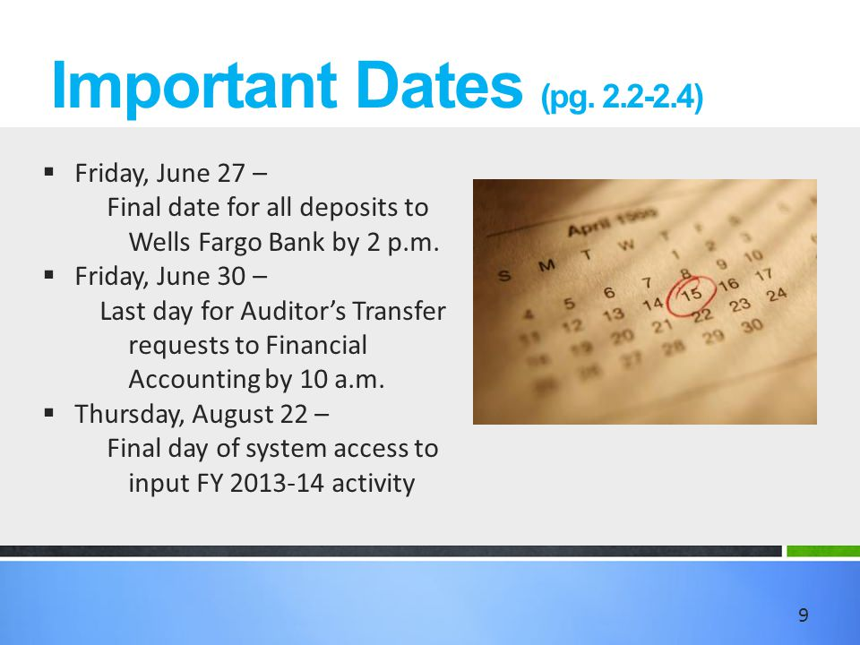 Important Dates (pg.