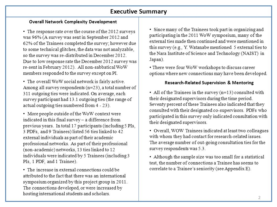 Notes 2 Executive Summary Overall Network Complexity Development The response rate over the course of the 2012 surveys was 96% (A survey was sent in September 2012 and 62% of the Trainees completed the survey; however due to some technical glitches, the data was not analyzable, so the survey was re-distributed in December 2012.