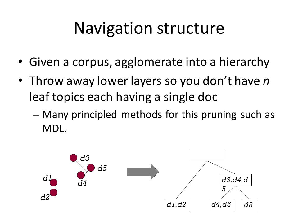 Navigation structure Given a corpus, agglomerate into a hierarchy Throw away lower layers so you don't have n leaf topics each having a single doc – Many principled methods for this pruning such as MDL.