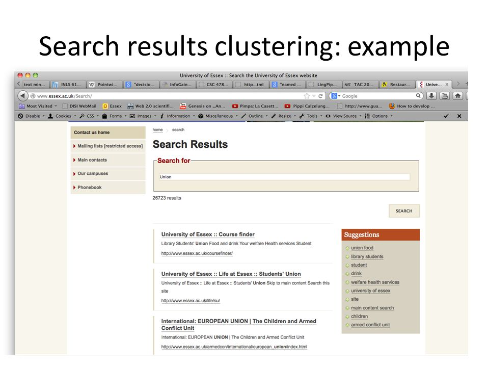 Search results clustering: example