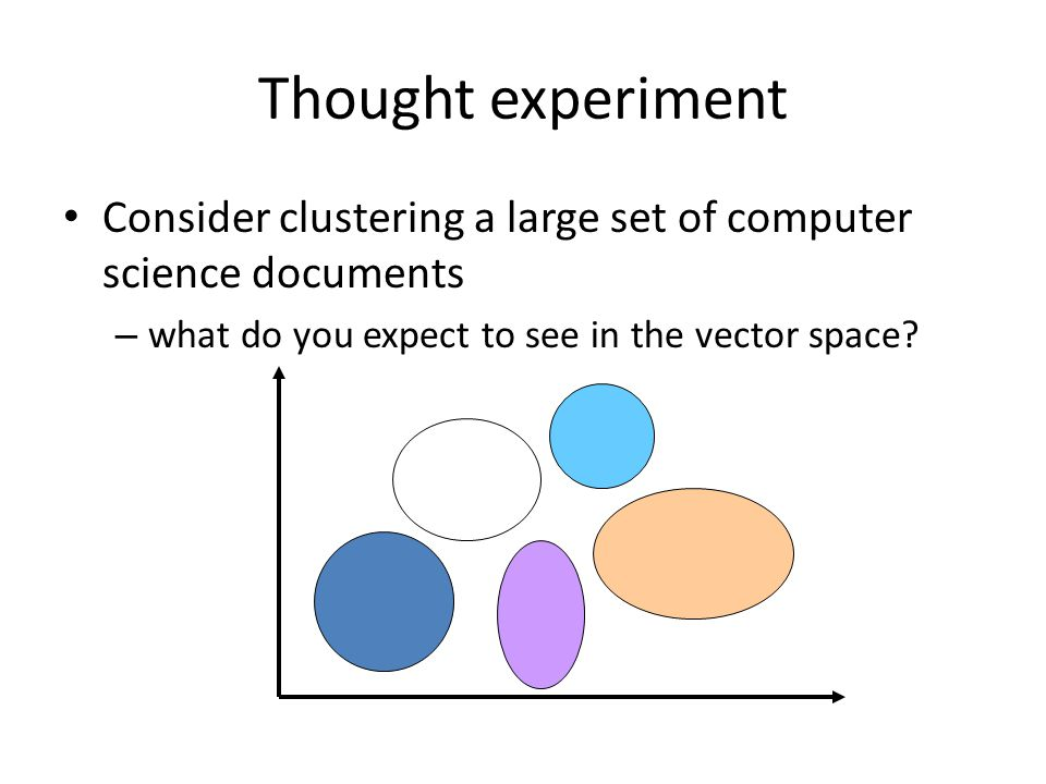 Thought experiment Consider clustering a large set of computer science documents – what do you expect to see in the vector space?