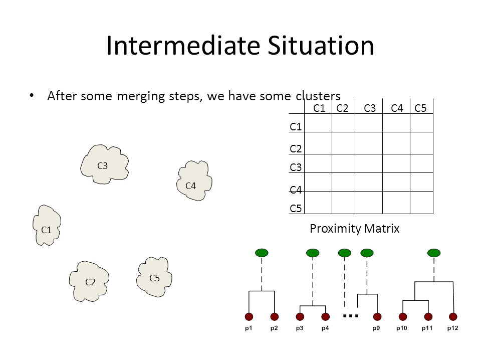 Intermediate Situation After some merging steps, we have some clusters C1 C4 C2 C5 C3 C2C1 C3 C5 C4 C2 C3C4C5 Proximity Matrix