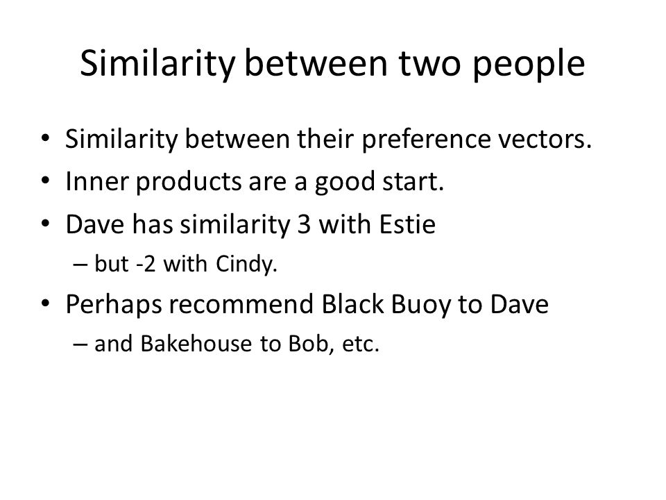 Similarity between two people Similarity between their preference vectors.