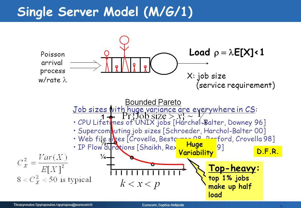 Thrasyvoulos Spyropoulos / spyropou@eurecom.fr Eurecom, Sophia-Antipolis 2 Poisson arrival process w/rate Load  E[X]<1 CPU Lifetimes of UNIX jobs
