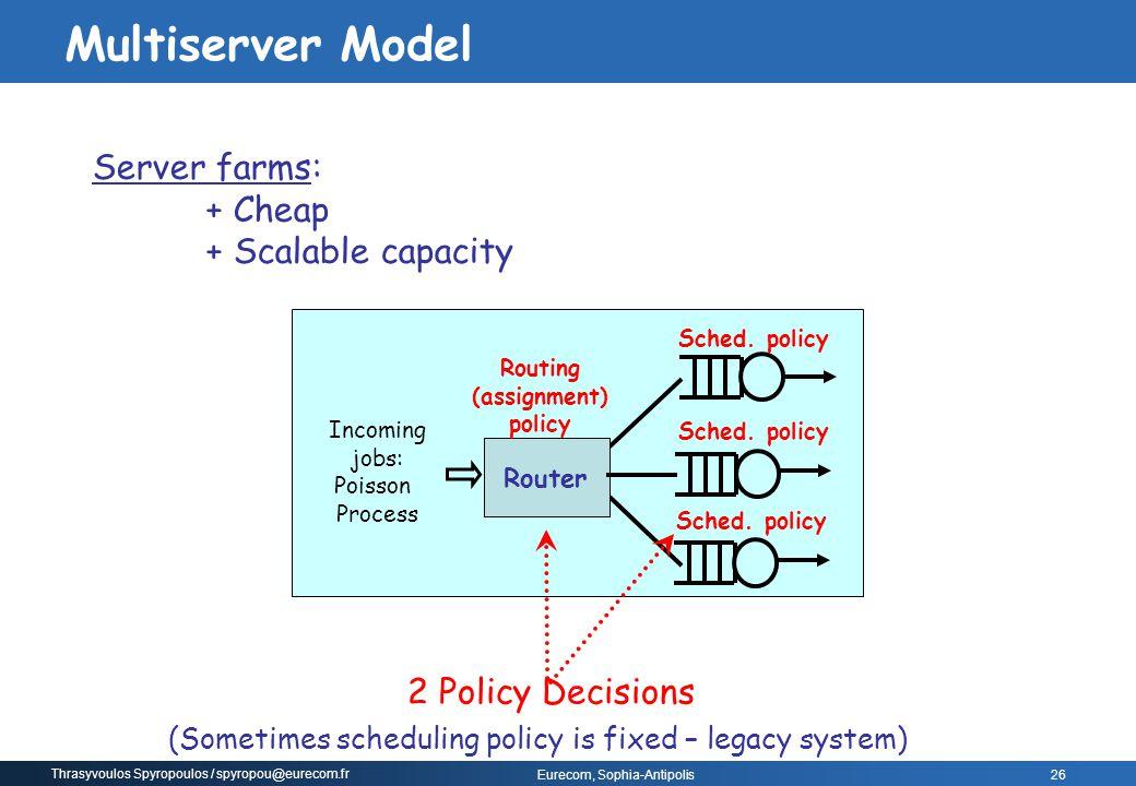 Thrasyvoulos Spyropoulos / spyropou@eurecom.fr Eurecom, Sophia-Antipolis Sched. policy Router Server farms: + Cheap + Scalable capacity Sched. policy