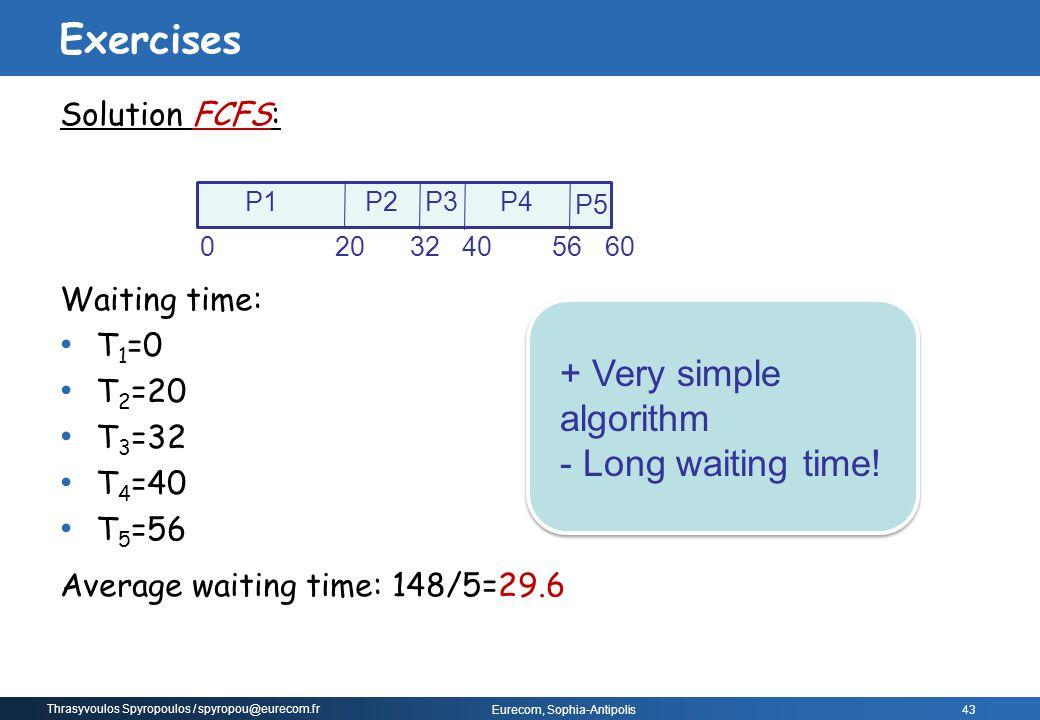 Thrasyvoulos Spyropoulos / spyropou@eurecom.fr Eurecom, Sophia-Antipolis 43 Solution FCFS: Waiting time: T 1 =0 T 2 =20 T 3 =32 T 4 =40 T 5 =56 Averag