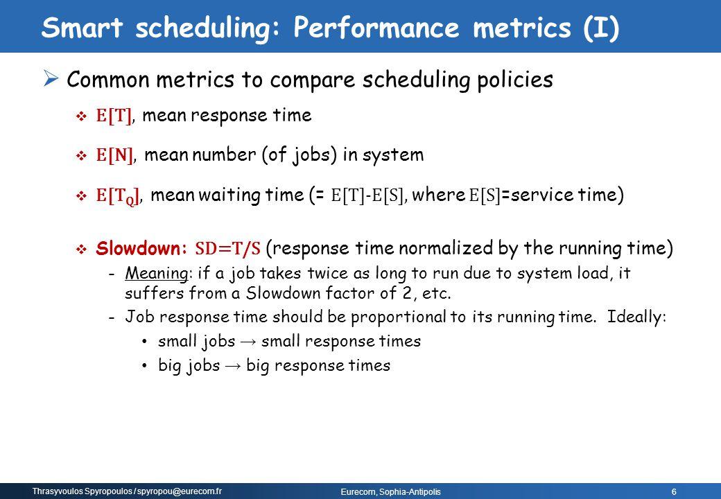 Thrasyvoulos Spyropoulos / spyropou@eurecom.fr Eurecom, Sophia-Antipolis  Common metrics to compare scheduling policies  E[T], mean response time 