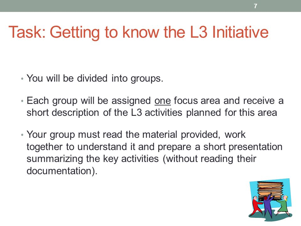 Task: Getting to know the L3 Initiative You will be divided into groups. Each group will be assigned one focus area and receive a short description of