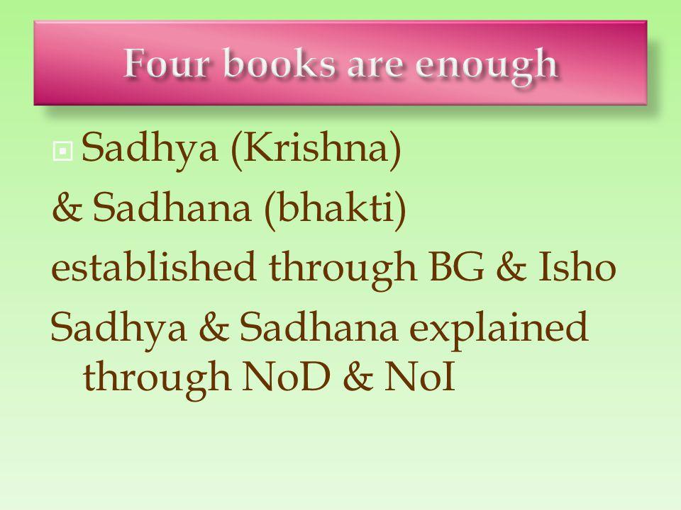  Sadhya (Krishna) & Sadhana (bhakti) established through BG & Isho Sadhya & Sadhana explained through NoD & NoI