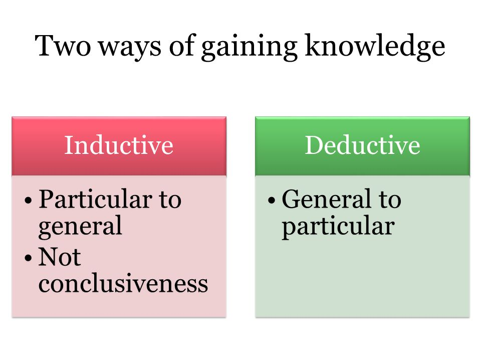 Inductive Particular to general Not conclusiveness Deductive General to particular Two ways of gaining knowledge