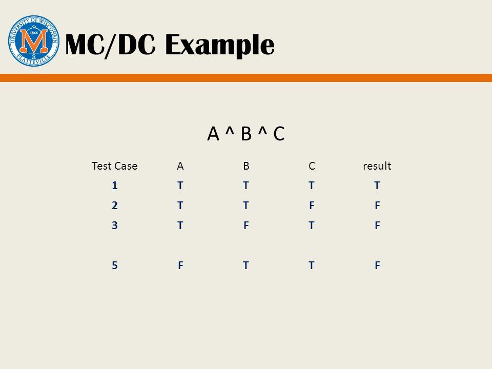 MC/DC Example A ^ B ^ C Test CaseABCresult 1TTTT 2TTFF 3TFTF 5FTTF