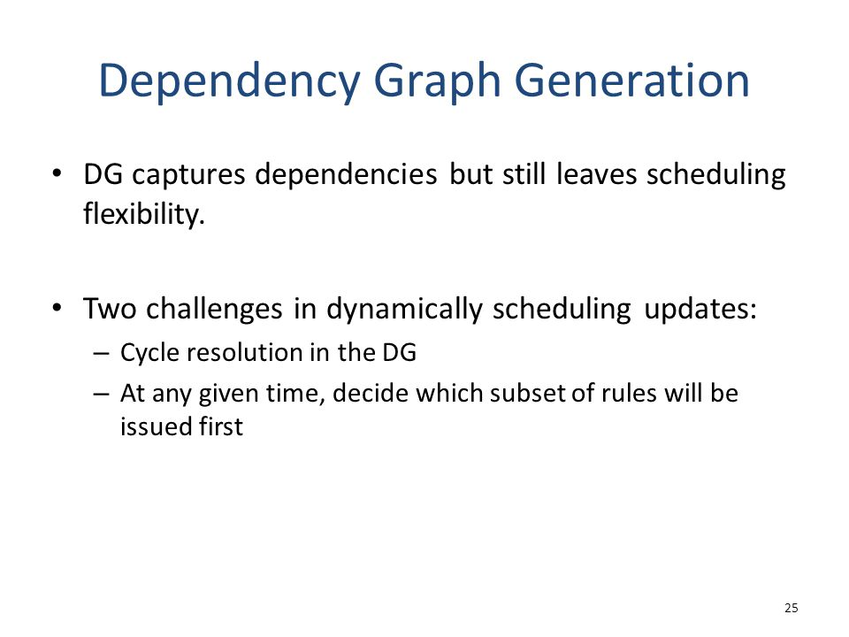 Dependency Graph Generation DG captures dependencies but still leaves scheduling flexibility.