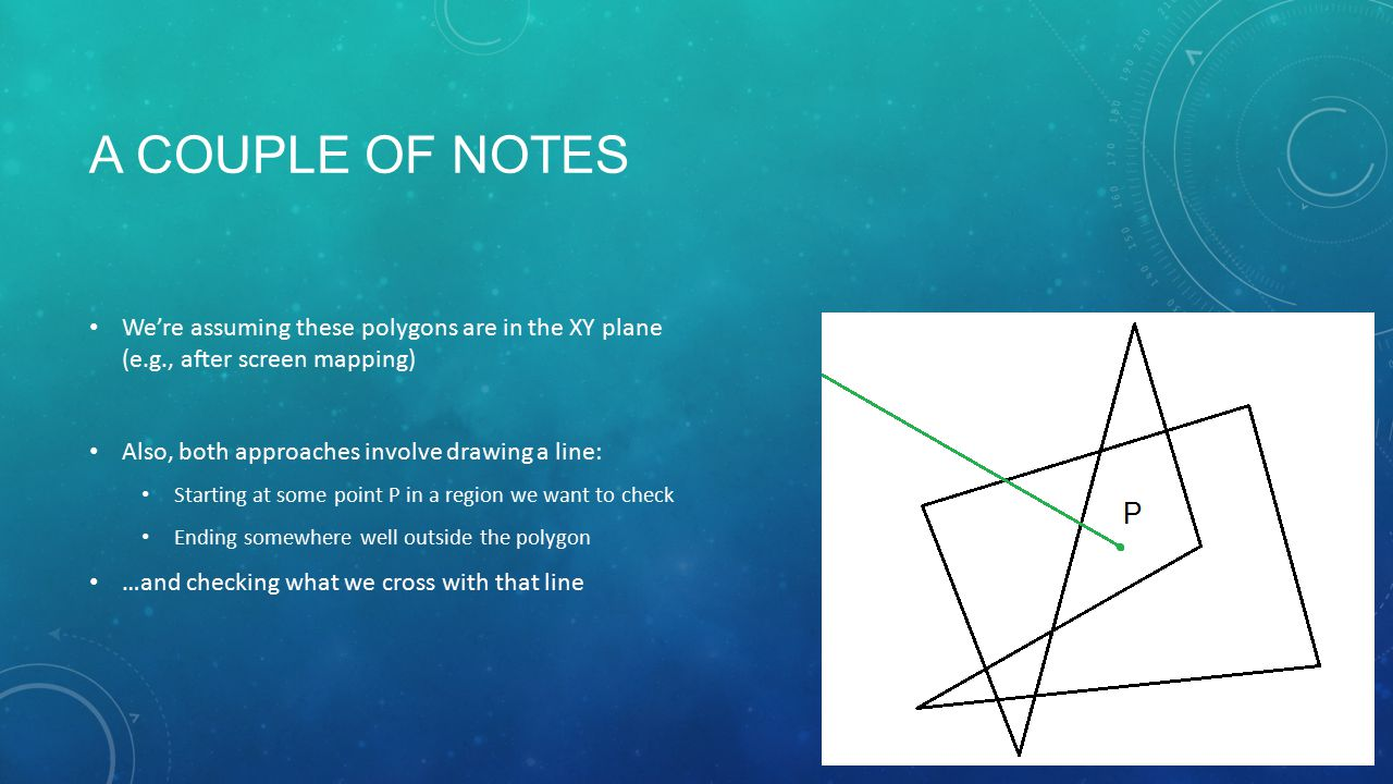 A COUPLE OF NOTES We're assuming these polygons are in the XY plane (e.g., after screen mapping) Also, both approaches involve drawing a line: Startin