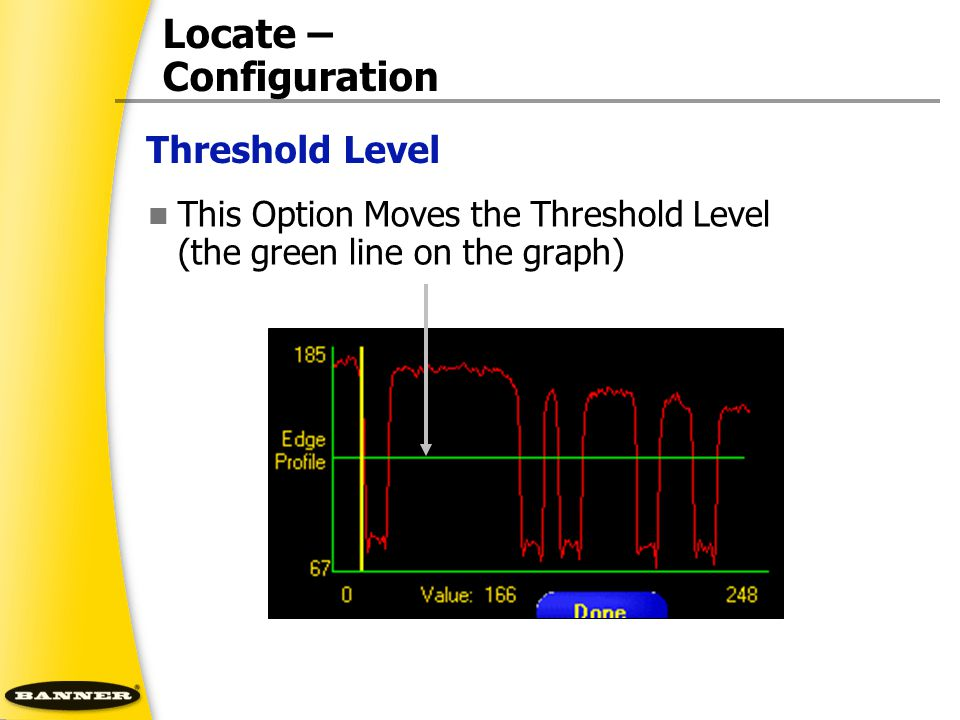 Locate – Configuration This Option Moves the Threshold Level (the green line on the graph) Threshold Level
