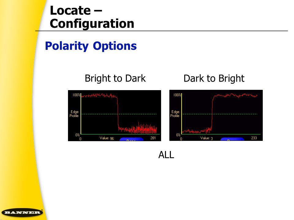 Locate – Configuration Bright to Dark Dark to Bright ALL Polarity Options
