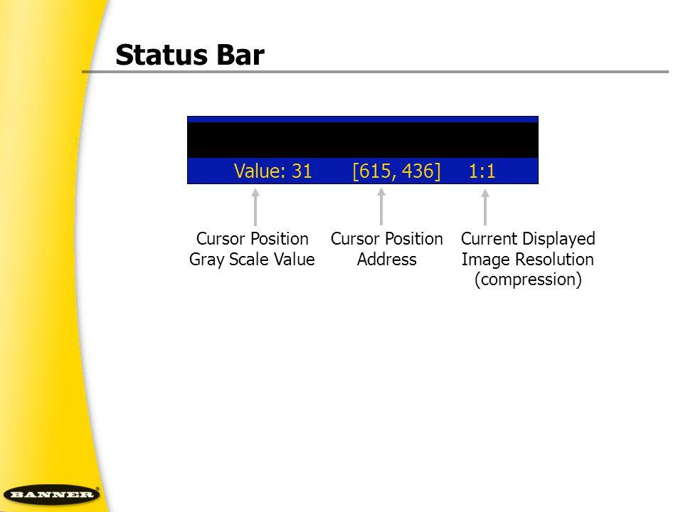 Status Bar Cursor Position Address Current Displayed Image Resolution (compression) Cursor Position Gray Scale Value Value: 31[615, 436]1:1