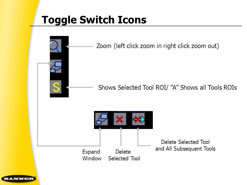 """Toggle Switch Icons Zoom (left click zoom in right click zoom out) Expand Window Shows Selected Tool ROI/ """"A"""" Shows all Tools ROIs Delete Selected Too"""
