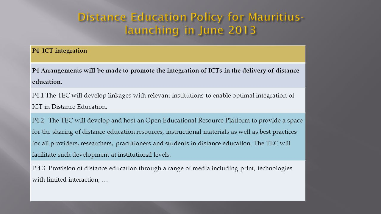 P4 ICT integration P4 Arrangements will be made to promote the integration of ICTs in the delivery of distance education. P4.1 The TEC will develop li