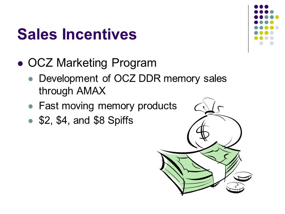 Sales Incentives OCZ Marketing Program Development of OCZ DDR memory sales through AMAX Fast moving memory products $2, $4, and $8 Spiffs