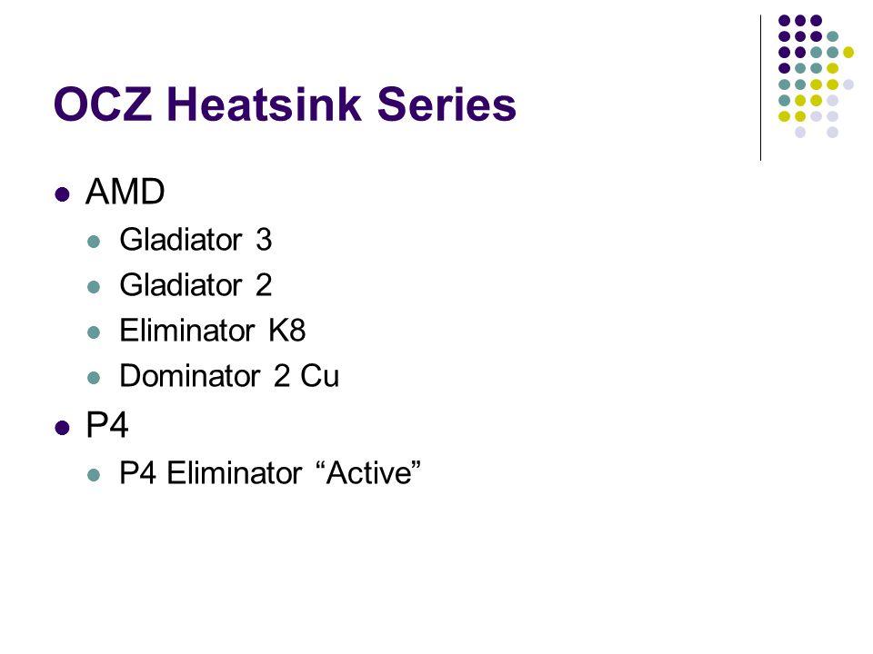 "OCZ Heatsink Series AMD Gladiator 3 Gladiator 2 Eliminator K8 Dominator 2 Cu P4 P4 Eliminator ""Active"""