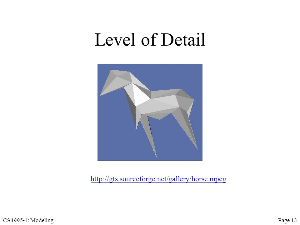 CS4995-1: ModelingPage 13 Level of Detail http://gts.sourceforge.net/gallery/horse.mpeg