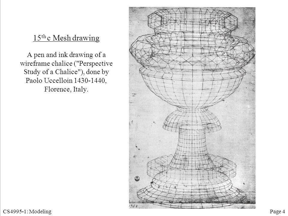 CS4995-1: ModelingPage 5 Splines Cubic (Hermite) Spline –Points P1, P4 Tangent vectors R1, R4 –C(0) continuity Bezier Spline –Points P1, P4 Tangent vectors R1, R4 –Points form convex hull –C(0) continuity B-spline –Curve approximates points –C(0), C(1), C(2) continuity Interactive demo at http://www.siggraph.org/education/materials/HyperGraph/modeling/splines/demoprog/curve.html